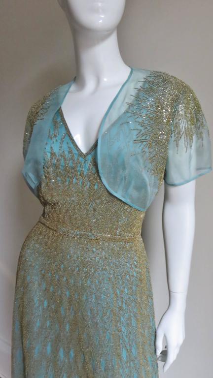 Stunning Carolina Herrera Gold Beaded Silk Couture Gown & Bolero 3