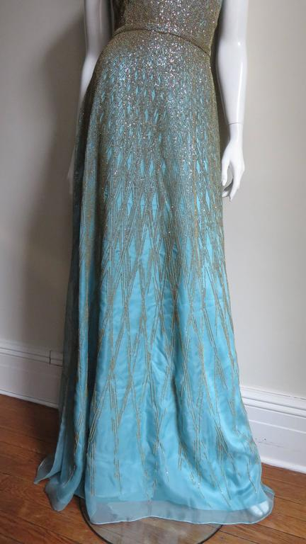 Women's 1990s Carolina Herrera Gold Beaded Silk Couture Gown & Bolero For Sale