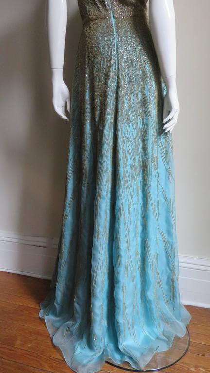Stunning Carolina Herrera Gold Beaded Silk Couture Gown & Bolero 8