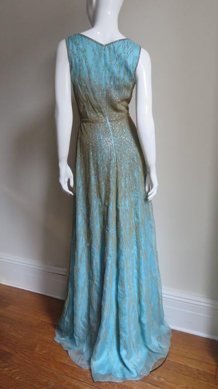 Stunning Carolina Herrera Gold Beaded Silk Couture Gown & Bolero 9