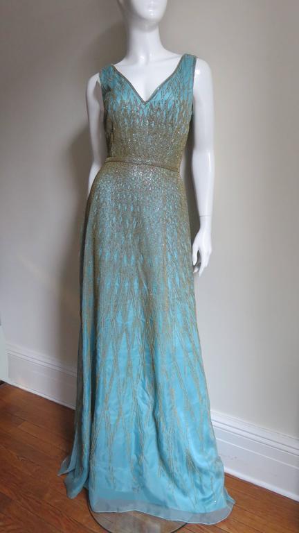 1990s Carolina Herrera Gold Beaded Silk Couture Gown & Bolero For Sale 1