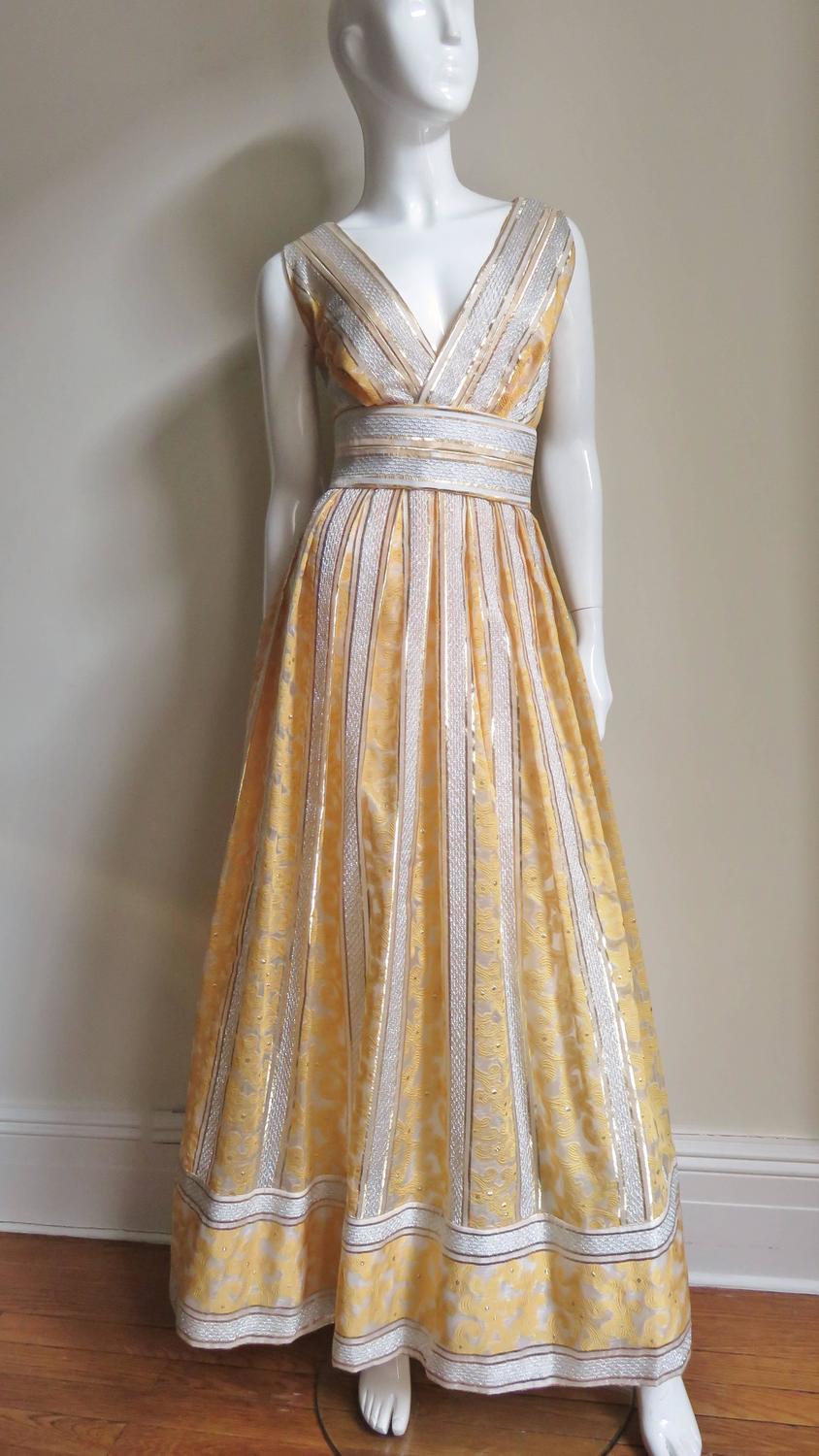 Vintage 1960s British Hong Kong Silk Plunge Gown For Sale