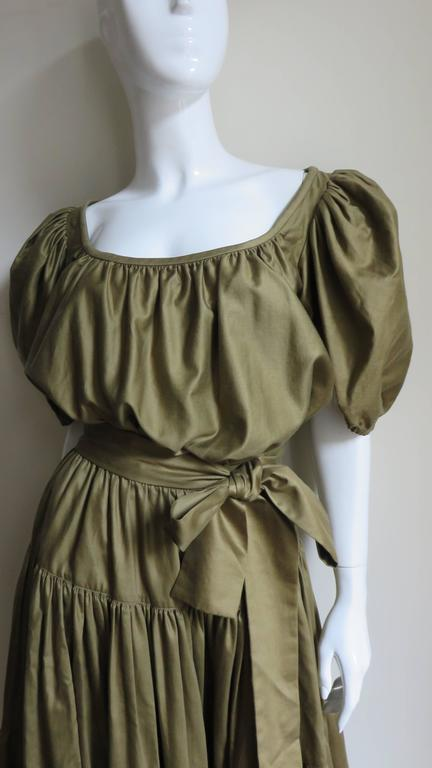 Brown 1960s Yves St Laurent Peasant Skirt & Top For Sale