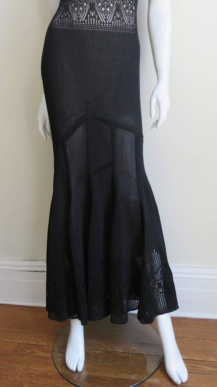 John Galliano Mermaid Dress with Sheer Midriff In Excellent Condition For Sale In New York, NY