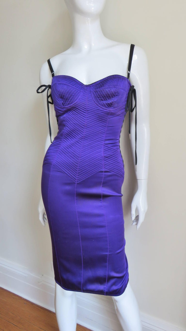 1990s Dolce & Gabbana Corset Dress With Side Lacing In New never worn Condition For Sale In New York, NY