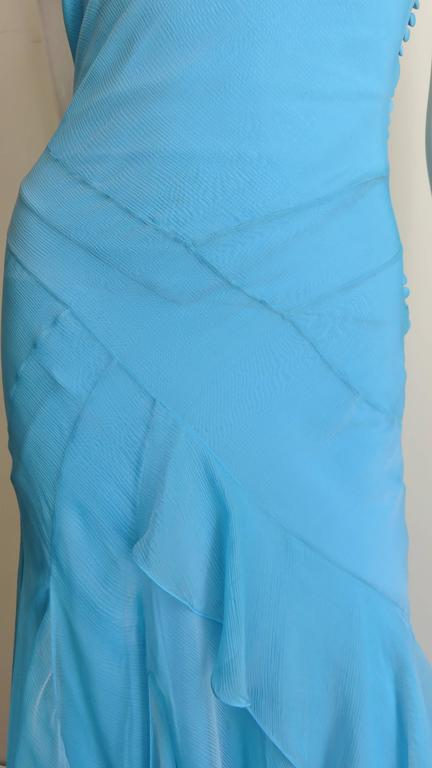Christian Dior Blue Silk Seamed Halter Gown For Sale 2