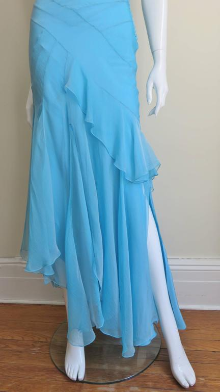 Christian Dior Blue Silk Seamed Halter Gown For Sale 3