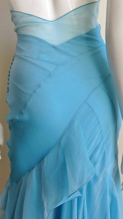 Christian Dior Blue Silk Seamed Halter Gown For Sale 9