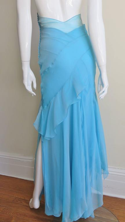 Christian Dior Blue Silk Seamed Halter Gown For Sale 4