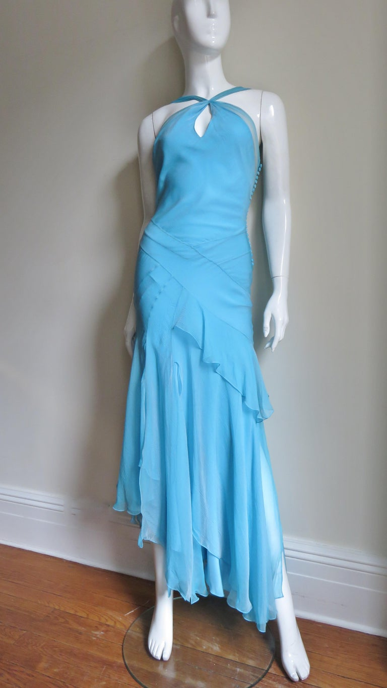 Christian Dior Blue Silk Seamed Halter Gown In Good Condition For Sale In New York, NY