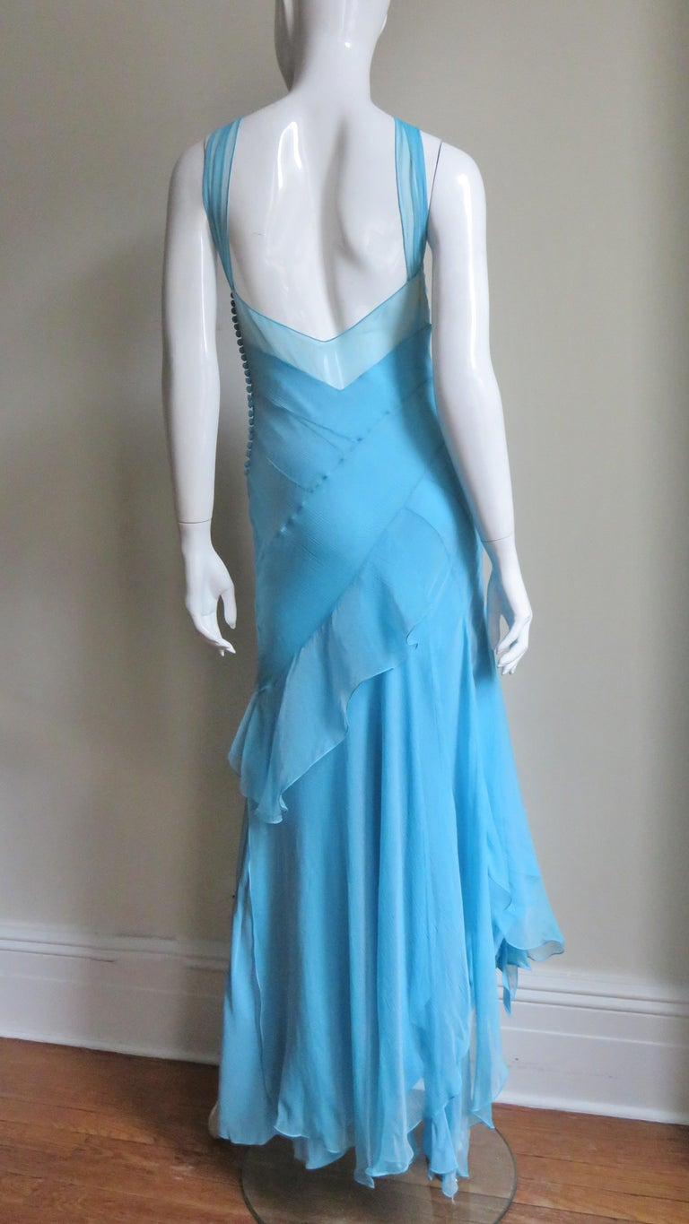 Christian Dior Blue Silk Seamed Halter Gown For Sale 6