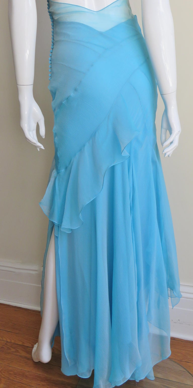 Christian Dior Blue Silk Seamed Halter Gown For Sale 10