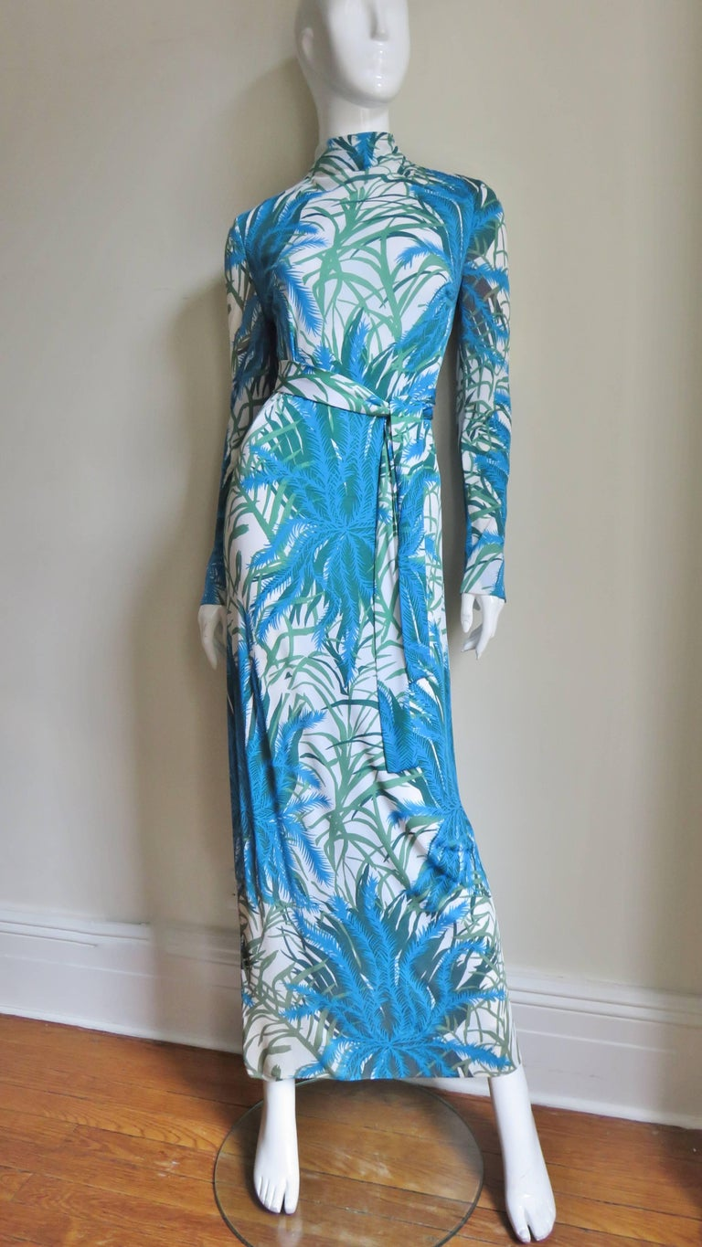 La Mendola Silk Maxi Dress and Over Skirt 1970s For Sale 2