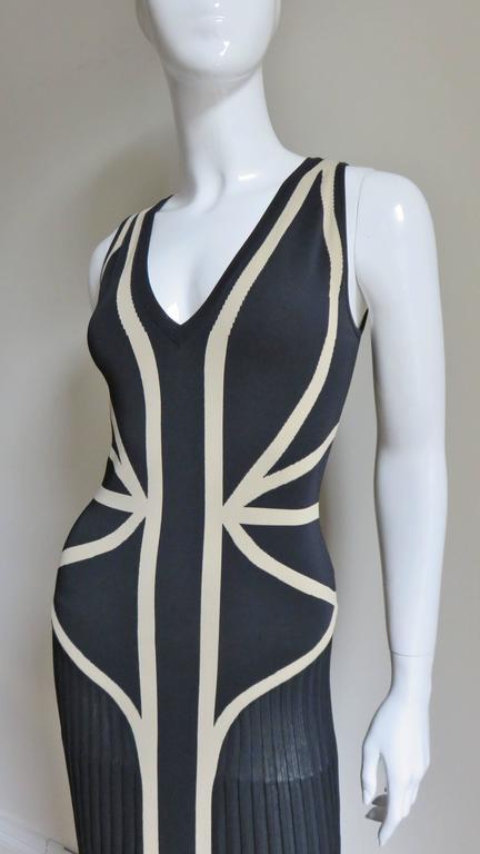 Black Alexander McQueen Geometric Color Block Bodycon Dress For Sale