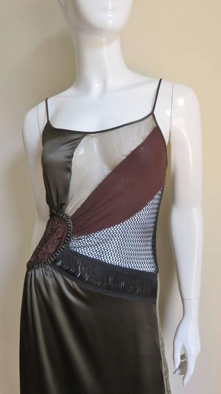 1990s Jean Paul Gaultier Slip Dress With Sheer Inserts & Fringe 2