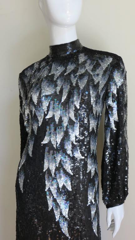 Black 1970s Halston Sequin Silk Dress For Sale