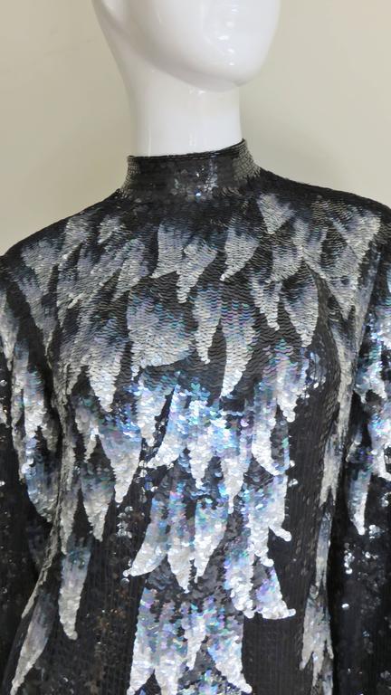 Black 1970s Halston Sequin Silk Dress For Sale