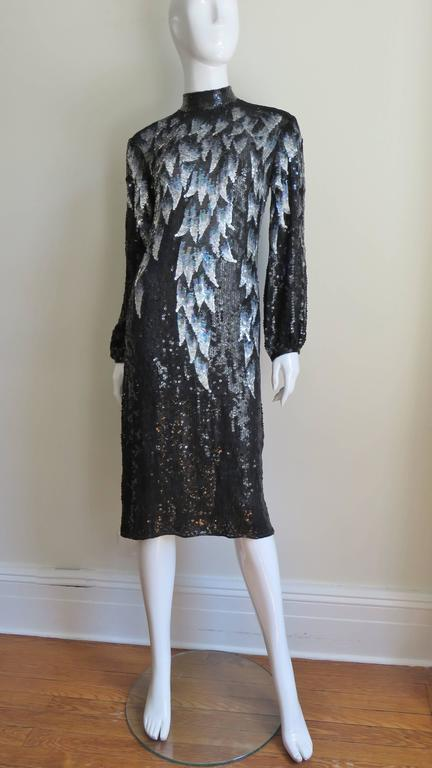 1970s Halston Sequin Silk Dress In Excellent Condition For Sale In New York, NY