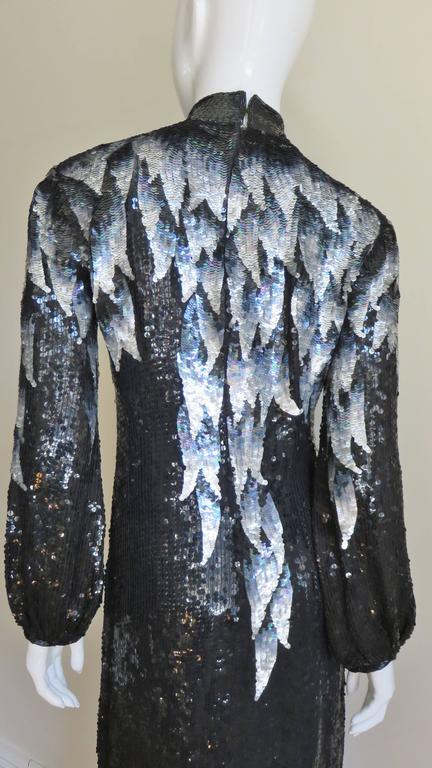 1970s Halston Sequin Silk Dress For Sale 1