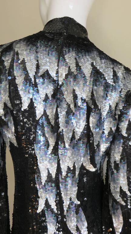1970s Halston Sequin Silk Dress For Sale 2
