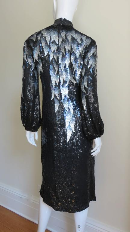 1970s Halston Sequin Silk Dress For Sale 4
