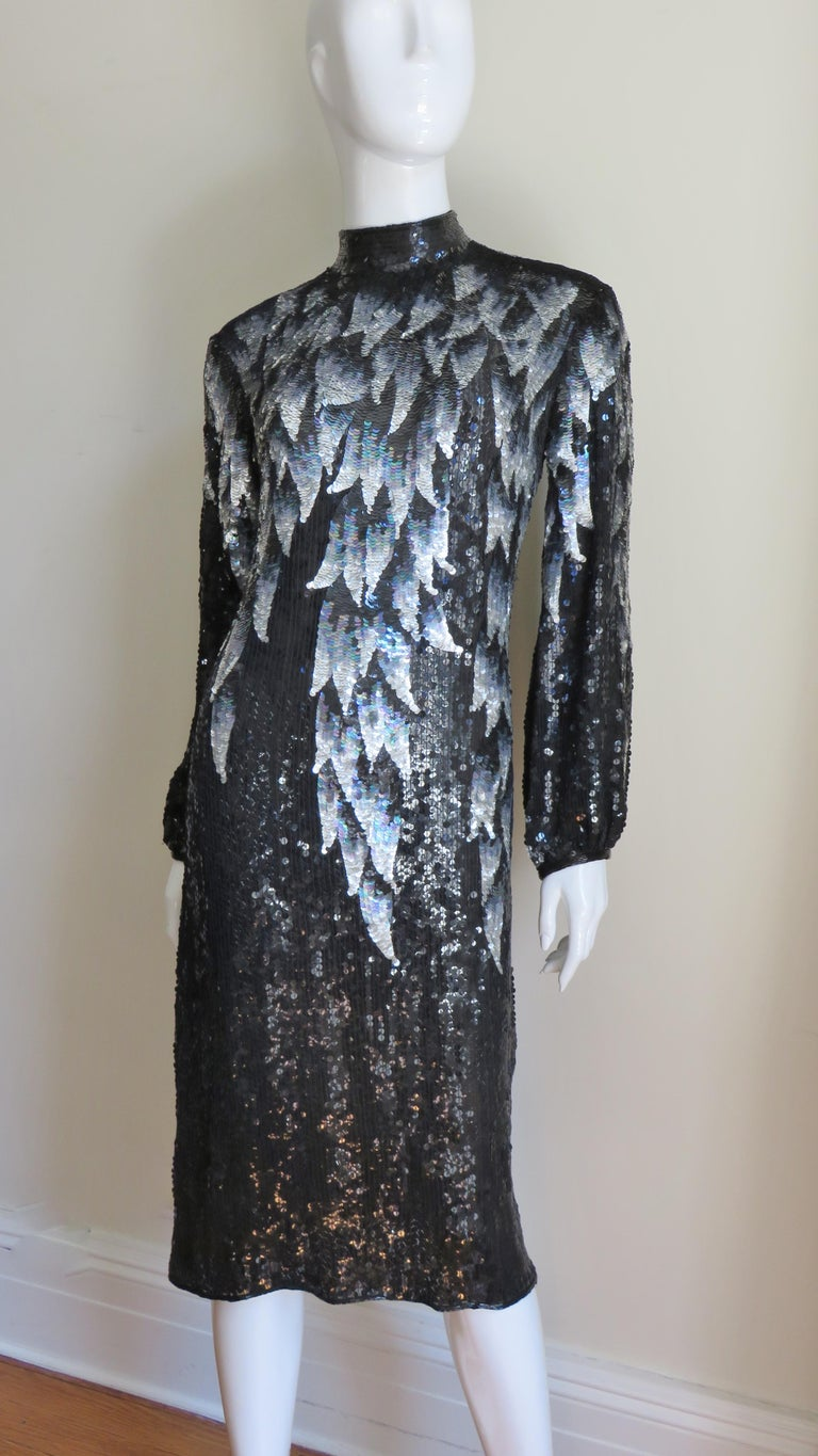 1970s Halston Sequin Silk Dress For Sale 1