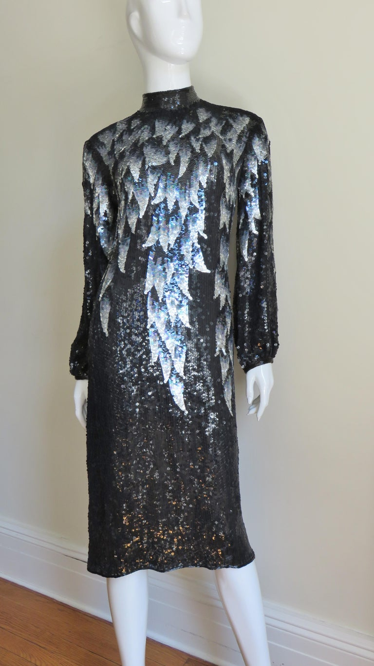 Women's 1970s Halston Sequin Silk Dress For Sale