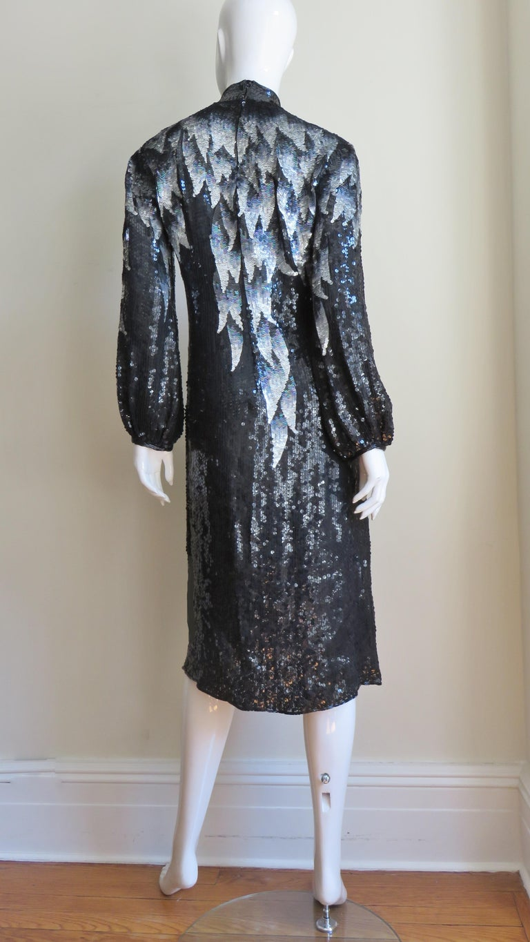 1970s Halston Sequin Silk Dress For Sale 7