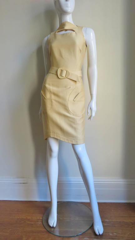1990s Thierry Mugler Asymmetical Cutout Belted Dress For Sale 2