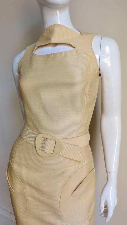 Beige 1990s Thierry Mugler Asymmetical Cutout Belted Dress For Sale