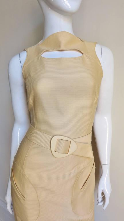1990s Thierry Mugler Asymmetical Cutout Belted Dress In Excellent Condition For Sale In New York, NY