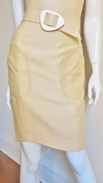 Women's 1990s Thierry Mugler Asymmetical Cutout Belted Dress For Sale