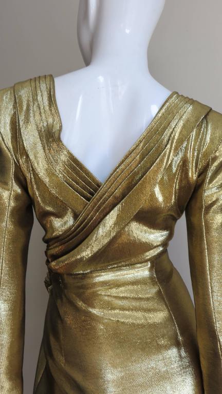 Saint Laurent Gold Plunge Wrap Dress 7