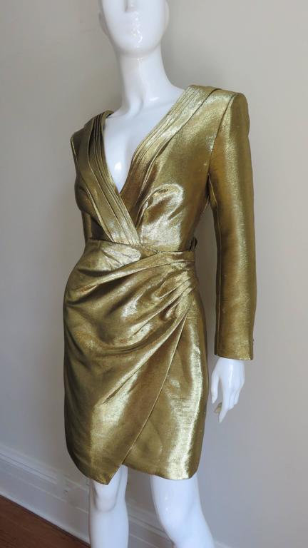 Saint Laurent Gold Plunge Wrap Dress In Good Condition For Sale In New York, NY