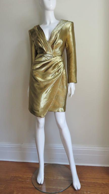 Saint Laurent Gold Plunge Wrap Dress For Sale 4