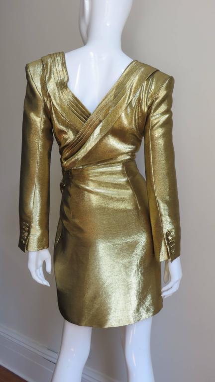Saint Laurent Gold Plunge Wrap Dress For Sale 1