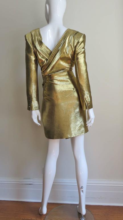 Saint Laurent Gold Plunge Wrap Dress 8