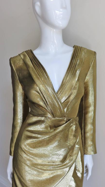 Saint Laurent Gold Plunge Wrap Dress 2