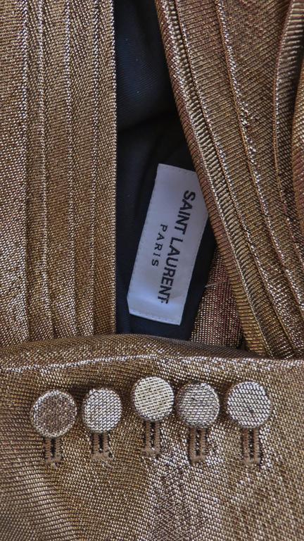 Saint Laurent Gold Plunge Wrap Dress For Sale 8