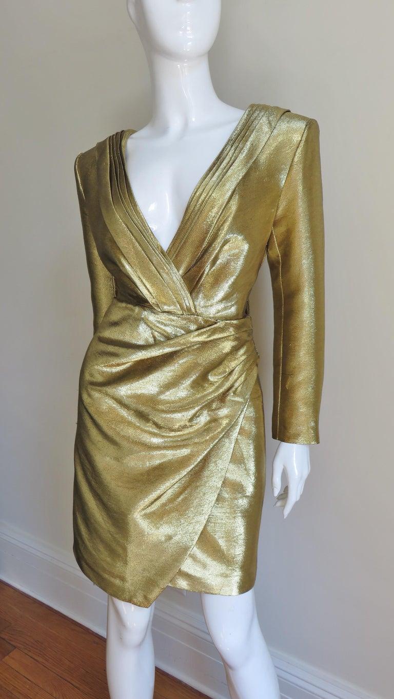 Brown Saint Laurent Gold Plunge Wrap Dress For Sale