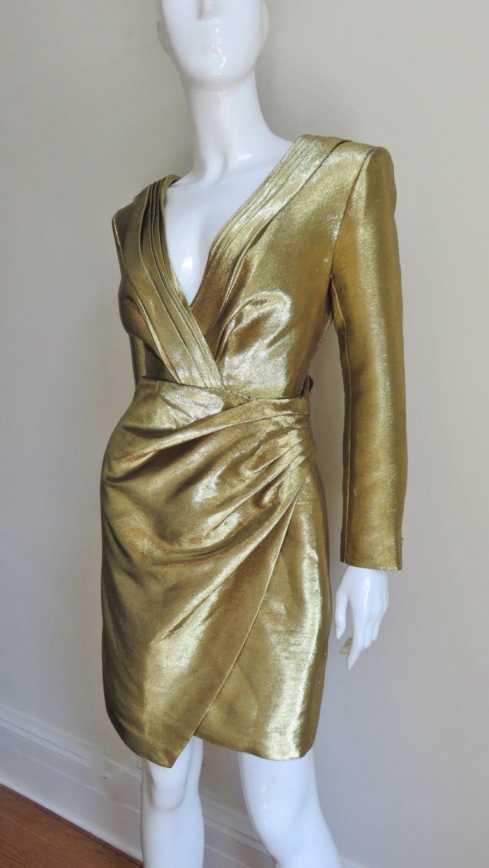 Saint Laurent Gold Plunge Wrap Dress For Sale 3