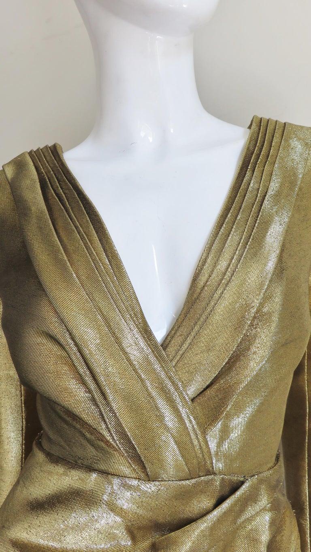 Saint Laurent Gold Plunge Wrap Dress For Sale 2
