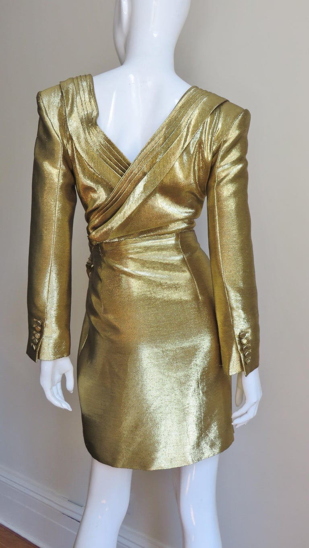 Saint Laurent Gold Plunge Wrap Dress For Sale 5
