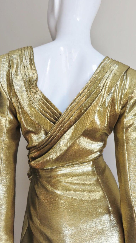 Saint Laurent Gold Plunge Wrap Dress For Sale 6