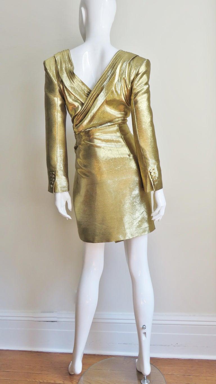 Saint Laurent Gold Plunge Wrap Dress For Sale 7