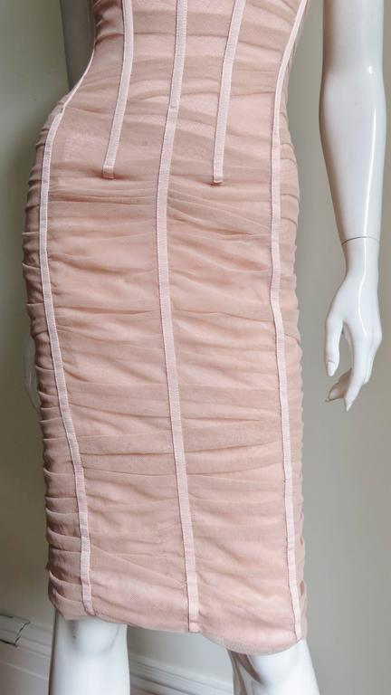 Dolce & Gabbana Nude Pink Silk Ruched Bodycon Corset Dress 5