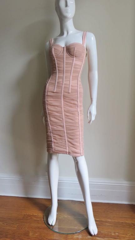 Dolce & Gabbana Nude Pink Silk Ruched Bodycon Corset Dress 6