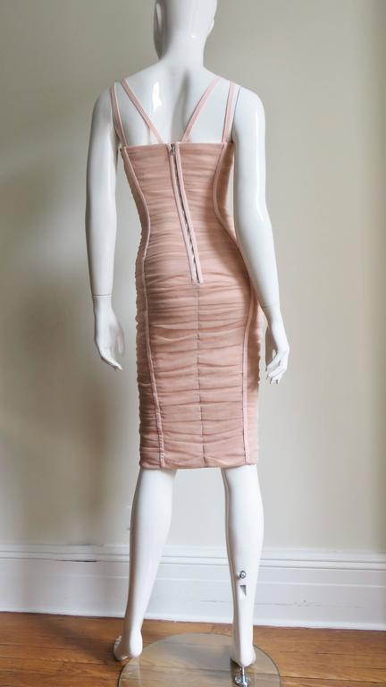 Dolce & Gabbana Nude Pink Silk Ruched Bodycon Corset Dress 9