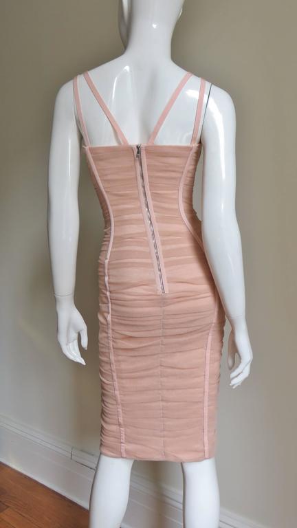 Dolce & Gabbana Nude Pink Silk Ruched Bodycon Corset Dress 7