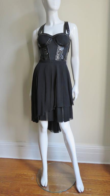 Versace Silk & Laser Cut Patent Trimmed Corset Dress. 5